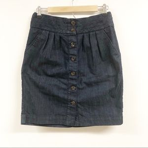 Pilcro and Letterpress Center Button Jean Skirt